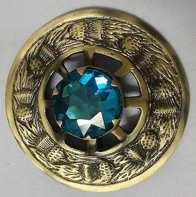 Traditional Kilt Fly Plaid Brooch Thistle Emblem Antique With Sky Blue Stone 3""
