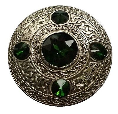 Celtic Kilt Fly Plaid Brooch Green Stone Antique Finish/Ladies Brooches/Shawl