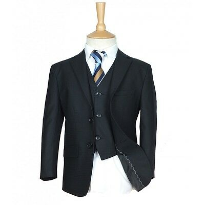 Boys Suit Black Check Checkered Formal Page boy Wedding Dinner Suits