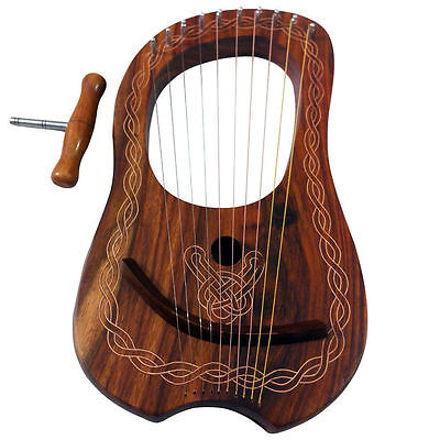 New Lyre Harp 10 Metal Strings Shesham Wood/Lyra Harp Free Soft Case & Key