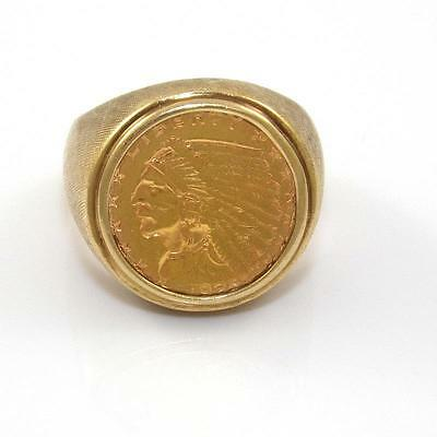 HEAVY Solid 14K Yellow Gold 1925 Liberty Gold Coin Ring Size 10 ZX
