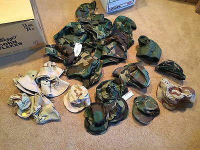 Lot of 25 US Military Issue Hats, caps, boonies, NOS to used, various sizes