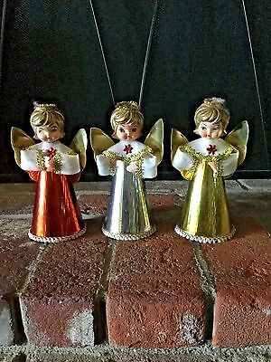 Set Of 3 Mid Century Angels Christmas Decor Gold Silver Red Vintage Christmas
