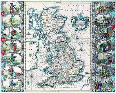 A3 Reproduction Map of MAP OF ANGLO SAXON BRITAIN
