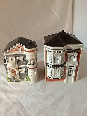 Set of 2 Otagiri Victorian House ceramic canisters Japan Hand painted