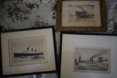 Lot of Three Pencil Signed Ship Etchings Charles JA Wilson