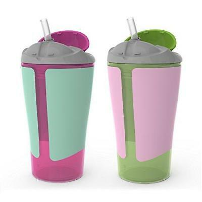 Born Free BPA-Free Grow with Me 10 oz. Straw Cup,2 Count, Girl New