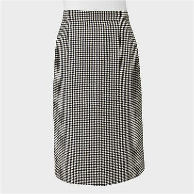 AQUASCUTUM Vintage Club Check Lined Wool Pencil Skirt Size 10L Made in England