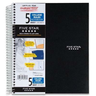 Mead Five Star Wirebound 5-Subject Notebook, 200 Sheets, College Rule-Black New