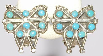 Vintage Native American Sterling Silver Petit Point Turquoise Butterfly Earrings