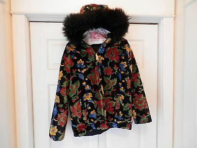Beautiful Vintage Chenille Carpet Bag Tapestry Coat/Jacket.Bright floral. EUC