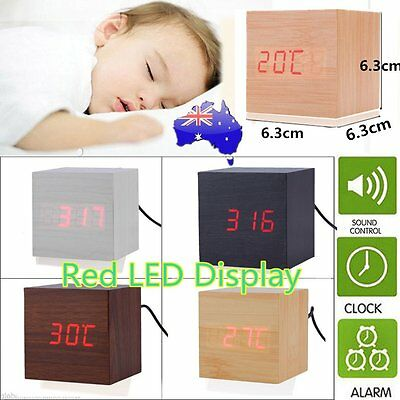 Modern Wooden Wood Digital LED Desk Alarm Clock Thermometer Timer Calendar AU