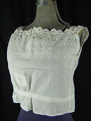 Antique Victorian Junior White Floral Eyelet Lace Camisole-Bust 34/2XS (B)