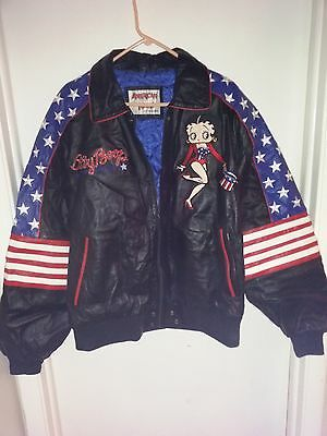 Betty Boop USA Leather Bomber Jacket