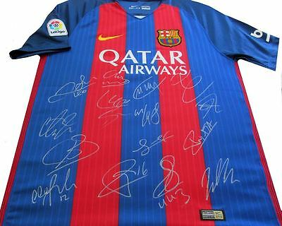 NEW! 2016-17  Barcelona Team Signed Jersey Autograph, Incl Neymar, Messi, Home