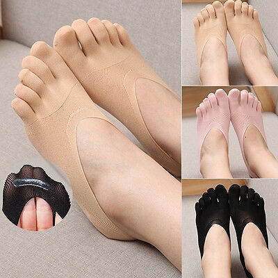 New Women Cotton Blend Lace Antiskid Invisible Low Cut Socks Toe Ankle Sock  IO
