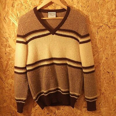 vintage wool knit sweater. imperial collection. old school colours. S