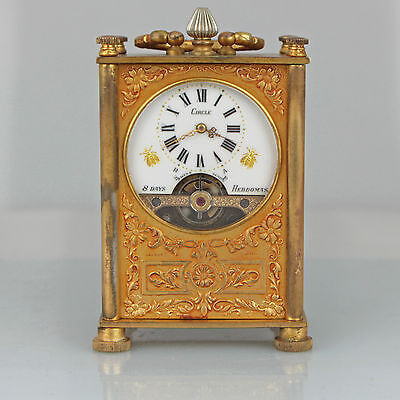 Antique Rare Hebdomas Watch French Swiss Miniature Carriage Travel Clock (video)