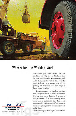 1953 Budd Company 1 page clipping ad - construction vehicles