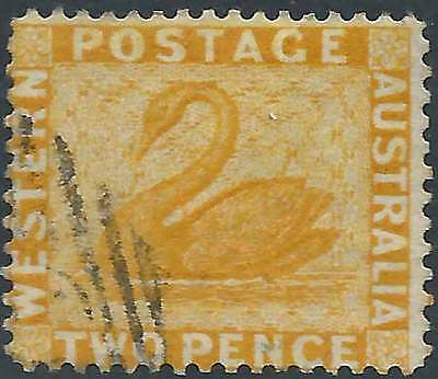 WESTERN AUSTRALIA 1861-90 Swan 2d Yellow ACSC 10a attractive fine used