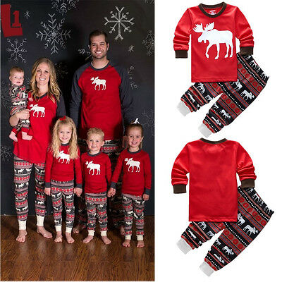 Christmas Kids Baby Girls Boys Reindeer Sleepwear Nightwear Pajamas Pyjamas Set