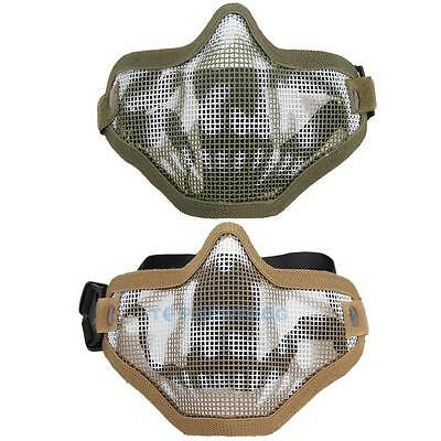 Metal Mesh Half Face Tactical Airsoft Military Protective SKULL Mask Paintball
