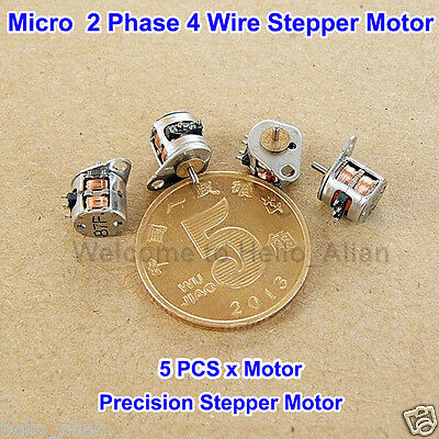 5PCS Mini Stepper Motor 2-Phase 4-Wire Micro Stepper Motor 6.5*6MM with Rod DIY