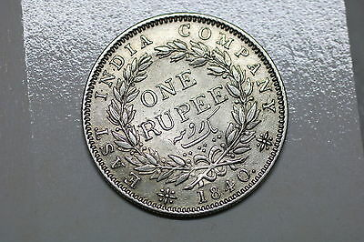 India 1 Rupee 1840 Silver Victoria Nice Details A56 #k5357