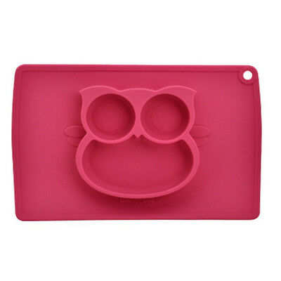 WINLY FDA Food Grade Integrated Silicone Owl Shape Plate Placemat for Children
