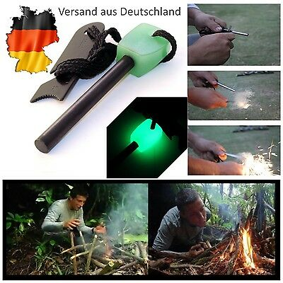 Feuerstein Feuerstahl Glow in the Dark selbstleuchtend Survival Camping Outdoor