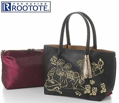 Disney Alice in Wonderland x ROOTOTE  fake leather tote bag w/ inside bag pouch