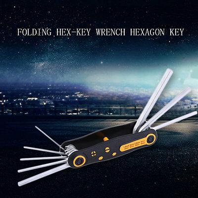 8 in 1 Portable CR-V Folding Hex-Key Wrench Hexagon Key Allen Wrench Set BY