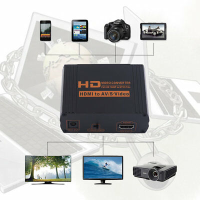 Full HD 1080P AV to HDMI Video Converter S-video/CVBS/RCA to HDMI with Plug BY