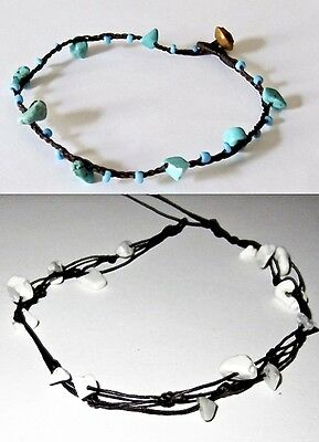 Anklet Bracelet Cotton Blue Turquoise Beads Friendship Surf Beach Hippie Women