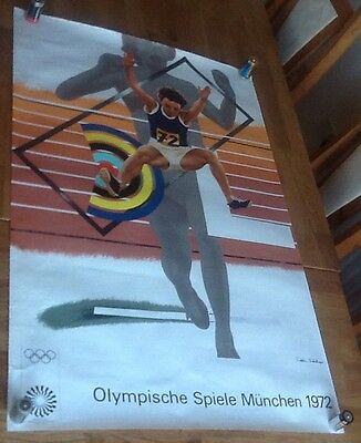Vintage Munich Olympics 1972 Poster The Hurdler By Peter Phillips