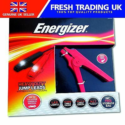 Energizer Heavy Duty 6.1m Jump Leads Booster Cables with LED Lights +Storage bag