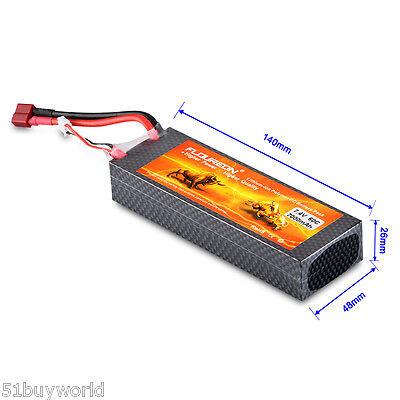 7000mAh 7.4V 2S 60C Lipo Battery Pack Rechargeable Deans Connector RC Airplane