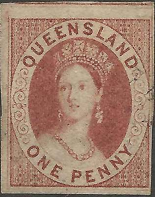 QUEENSLAND 1860 Large Star 1d Carmine ACSC1 sg1 cv£800 4M imperforate superb FU