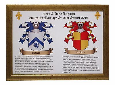 Wedding Celebration Your Own Framed Double Coat Of Arms & Surnames Origin