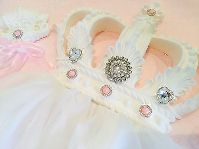 Baby Shower Christening Gift Tiara Girls White Baby Pink Cot Bed Crown Canopy