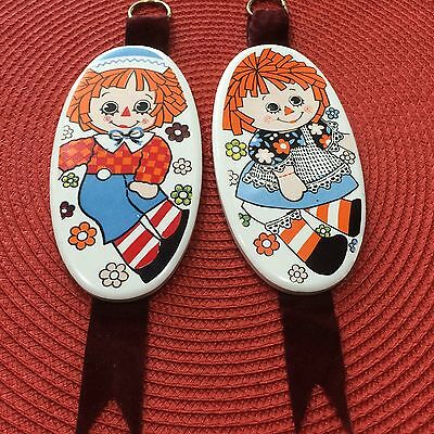 Raggedy Ann and Andy Enesco Ceramic Porcelain Wall Plaques Nursery Kids Room