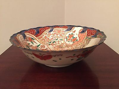 Large Chinese Handpainted Porcelain Bowl, Cobalt Blue and Red
