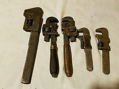 pipe wrench lot antique 19 8 5 lot of 5