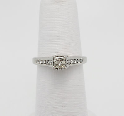 Zales 1/2CT Princess Cut Diamond Solitaire Engagement Wedding Ring 14K Gold