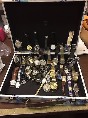 Lot of 35 Watches For Parts Some may work bands hands faces stems crowns