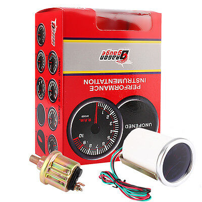 2'' 52mm Universal Car Red LED Light Pointer Oil Pressure Gauge 0-100 PSI 12V