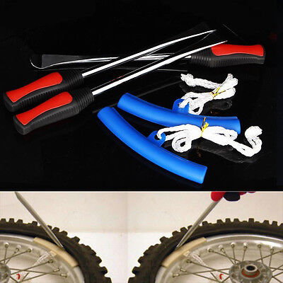 Motorcycle Bike Wheel Tire Change Replace Tool Lever Spoon Rim Protector Kit