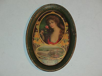 1900s TIP TRAY ~ compliments PASSAIC METAL WARE CO~ STELAD SIGNS~ COCA COLA GIRL