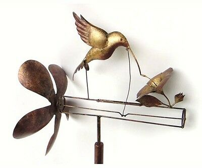 HUMMINGBIRD & HIBISCUS WHIRLIGIG WIND-POWERED SCULPTURE GARDEN DECOR w/ POLE