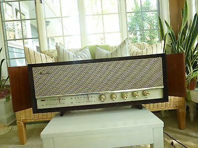 """Mid Century Modern Star-Lite Radio Wood Cabinet Fm-530 25"""" Wide With Flaps,vents"""